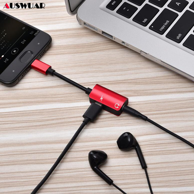 Type-C Charge Audio Adapter Type C 3.5MM Aux Eearphone Headphone Adapter Female Type-C Adapter For Huawei P20 P30 Xiaomi Mi 8 6