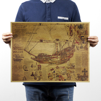 Retro vintage poster Kraft paper  Old merchant and treasure painting wall art craft sticker home decor 42x30 CM image