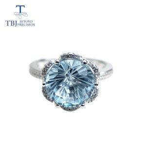 Image 3 - TBJ, רומנטי טבעת עם טבעי שמיים כחול טופז טופז כדורגל לחתוך חן טבעת 925 כסף בסדר תכשיטי עבור בנות כמו מתנה