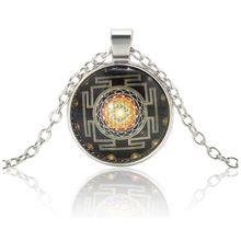 Fashion Silver Chain Necklace Sri Yantra Photo Cabochon Glass Pendant Jewelry