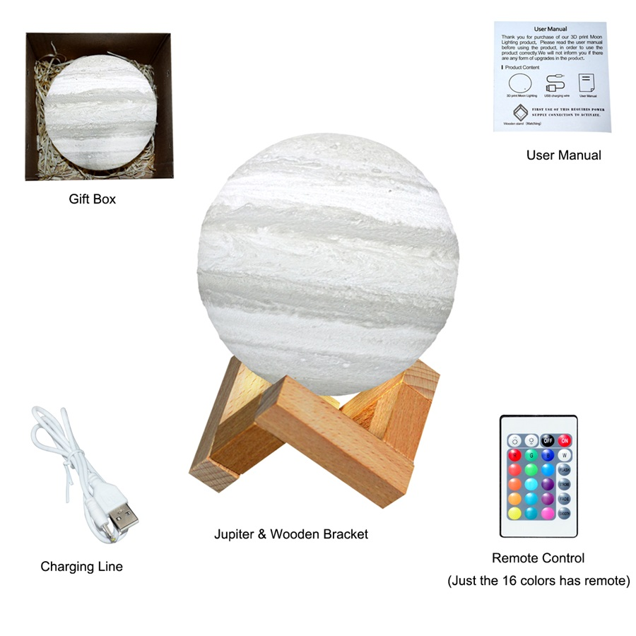 3D Print LED Jupiter Lamp Color Changing LED Moon Night Light USB Rechargeable Touch Switch LED Moon Lamp for Home Decoration