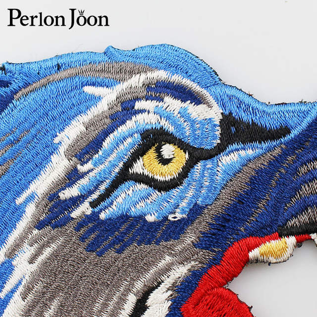 efa4837151b26 US $3.2 |Fashion blue wolf head Patches High Quality Animal Applique  embroidered patches for clothes sew on Jeans jacket sewing crafts-in  Patches from ...