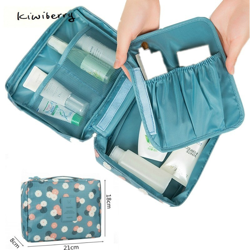 Fashion Travel Nylon Beauty Makeup Bags Water proof Cosmetics Bags Bathroom Organizer Of Women Portable Bath Hook Washing Up Bag-in Storage Bags from Home & Garden