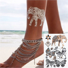 #386 Indian Style Elephant Butterfly Flash Tattoo Design Boho Temporary Metal Tattoo