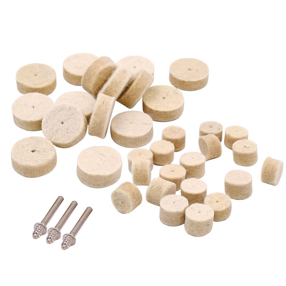 100tk pöörlevad abrasiivtööriistad viltvillast puhverrataste lihvimis ehted metallist puidutöötlemise poleerimisratas Dremeli tarvikute jaoks