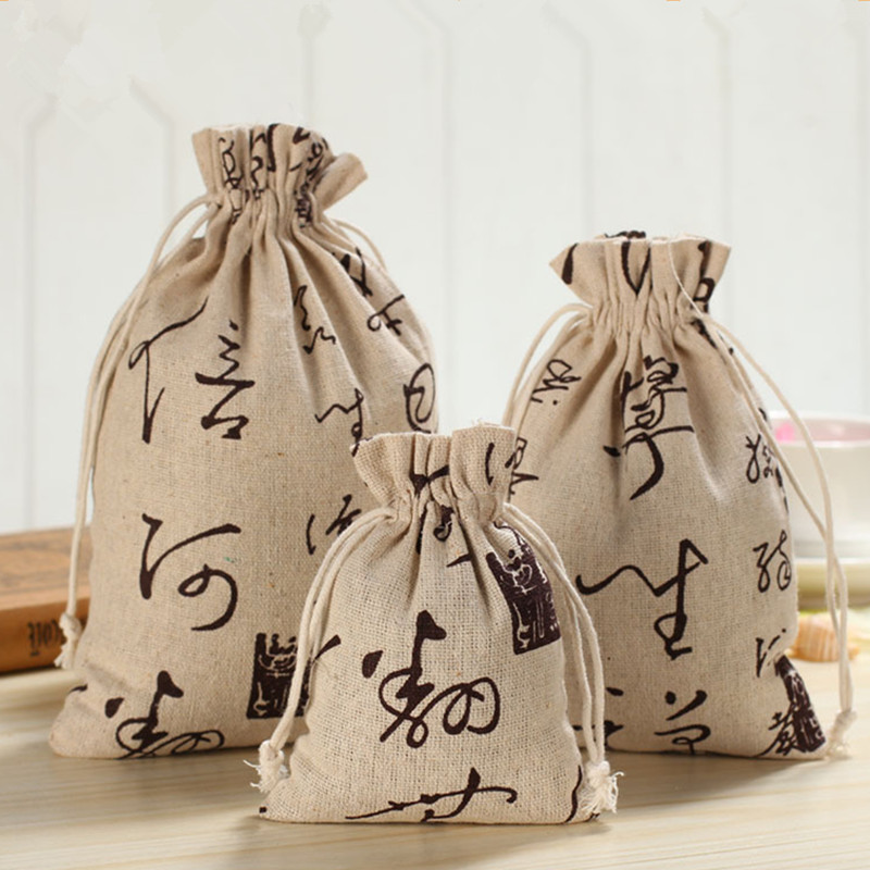 YILE Handmade Cotton Linen Drawstring Multi-purpose Gift Bag Chinese Character 8123I
