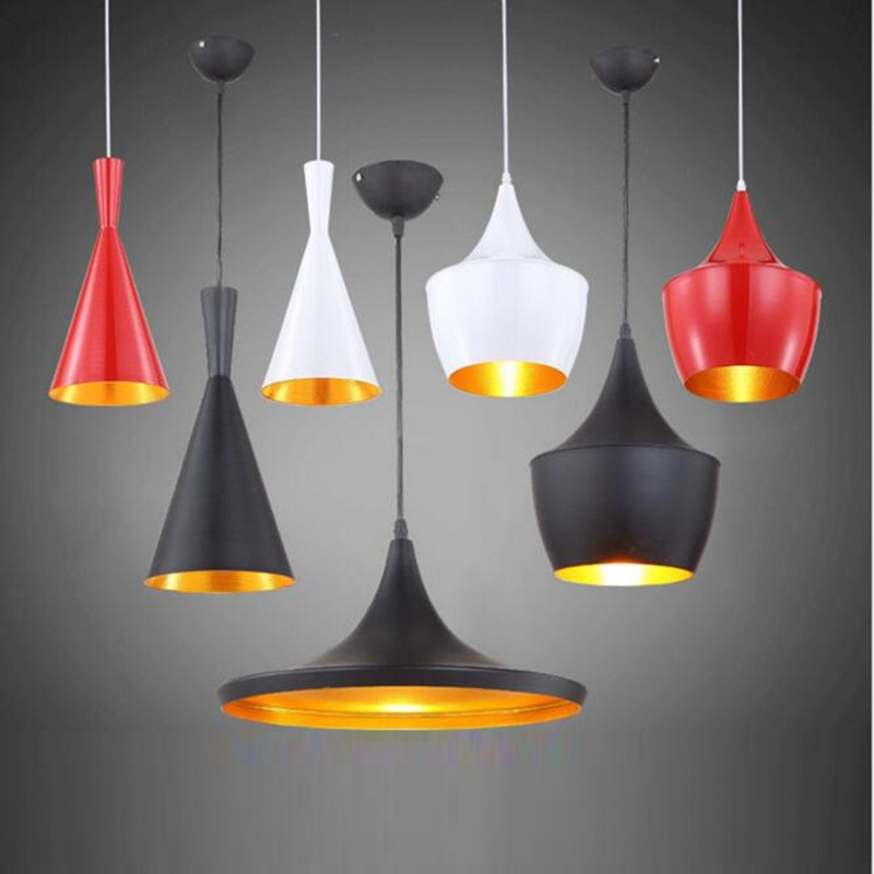 LukLoy Beat Aluminum Drop Light Pendant, Black/Red/White Light Lamp Shade for Kitchen Island Dining Room Decoration, 220V E27