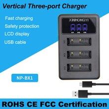 лучшая цена Camera Charger NP-BX1 NP BX1 Battery 3 Slot LCD USB Charger for Sony DSC RX1 RX100 AS100V M3 M2 HX300 HX400 HX50 HX60 GWP88