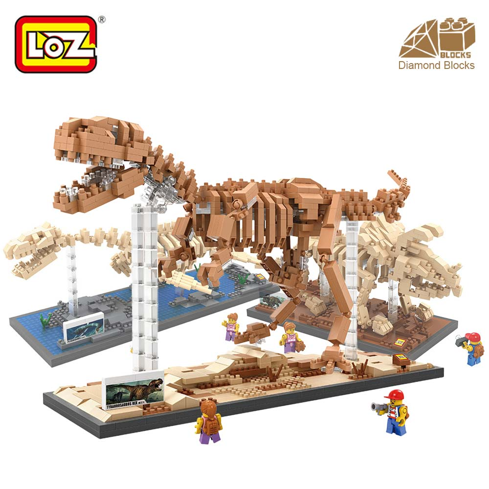 LOZ Diamond Blocks T Rex Dinosaur Fossil Skull Animal Model Set Toys Mini  Nano Blocks Dinosaur LOZ Brick Creator Tyrannosaurus