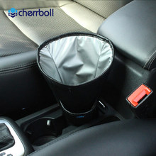 Cherrboll Car Garbage Fits Cup Holder In Console or Door v  Dust Case Bin GPS Air Freshener