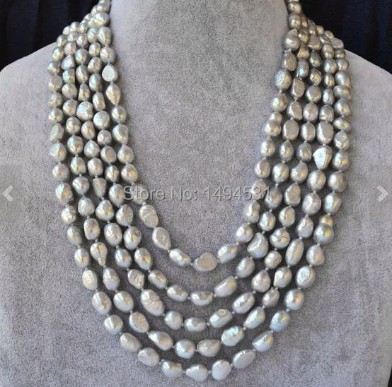 Wholesale Pearl Jewelry , Gray Color 100 Inches Long AA 8-10MM Baroque Shaper Genuine Freshwater Pearl Necklace - Free Shipping.