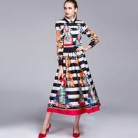Women Top Fashion 2017 Spring Autumn Runway Vinatge 2 Pieces Set Printed Blouse Swing Skirt Retro