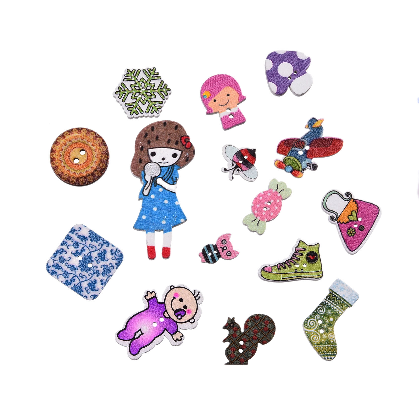Sewing Accessories Buttons Flatback Cabochon Scrapbooking Wood Decorative Buttons Crafts 50Pcs Multicolor Mixed Wooden Button(China (Mainland))