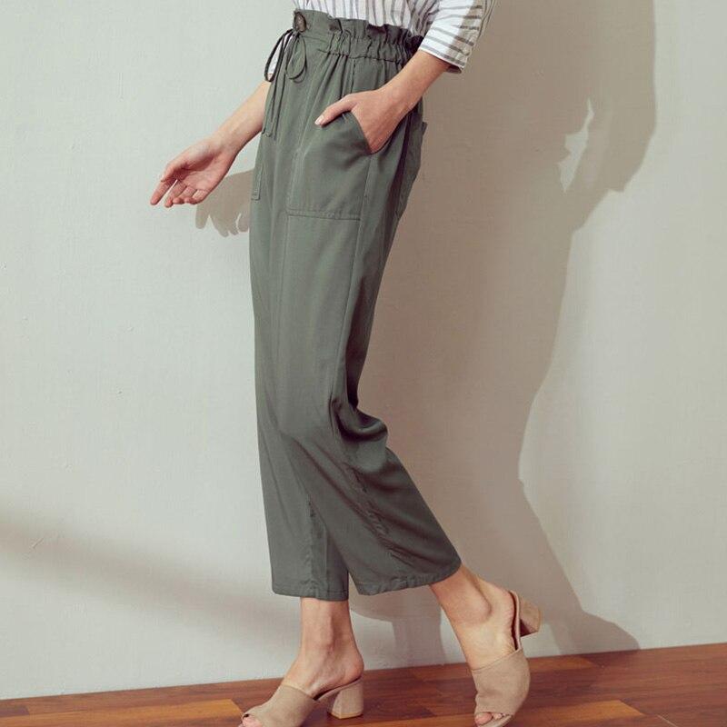 Pantalon été à col étroit ceinture dentelle sac en papier pantalon taille haute pantalon noir pêche beige olive pantalon couleur Pure - 4
