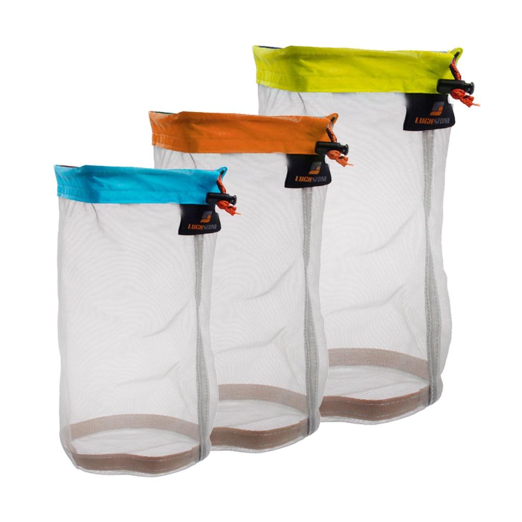 Ultra Stuff Sacks Nylon Mesh Drawstring Storage Bag For Travelling Hiking Set Of 3size Bag For Climbing Hiking Rope Storage