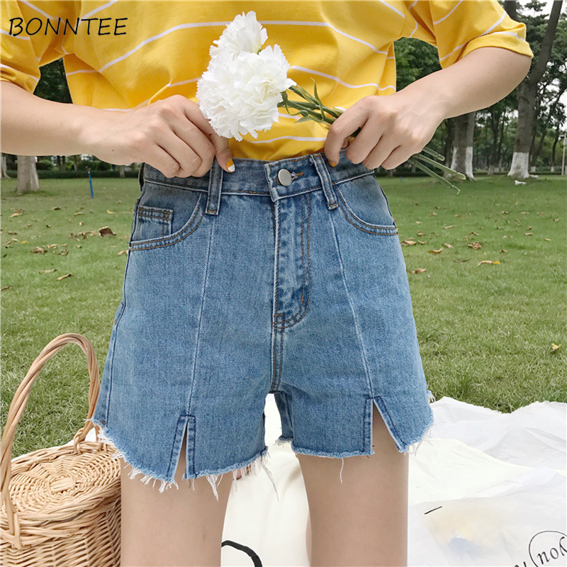Shorts Women Chic Korean Version Summer High-waist Wide-leg Student Trendy Womens Loose Elegant Solid Colour Ladies All-match