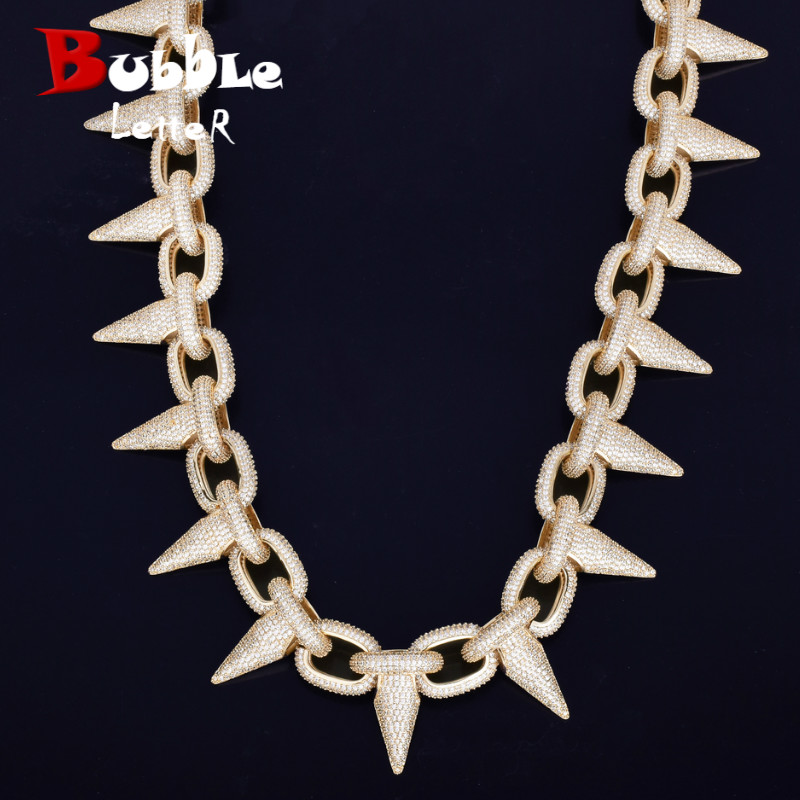 Iced Heavy Punk Rivet Choker Bling Cubic Zircon Men s Hip hop Necklace Jewelry Gold Silver