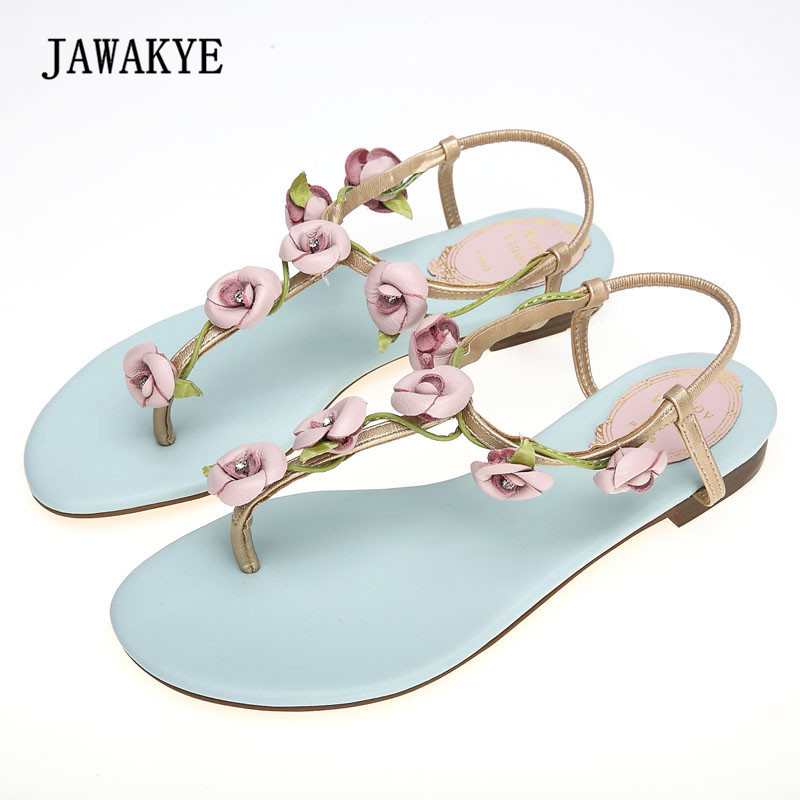 2018 3D Flower Real Leather Gladiator Sandals Woman Open Toe Rhinestone Diamond Ankle Strappy Flats Beach Shoes Woman