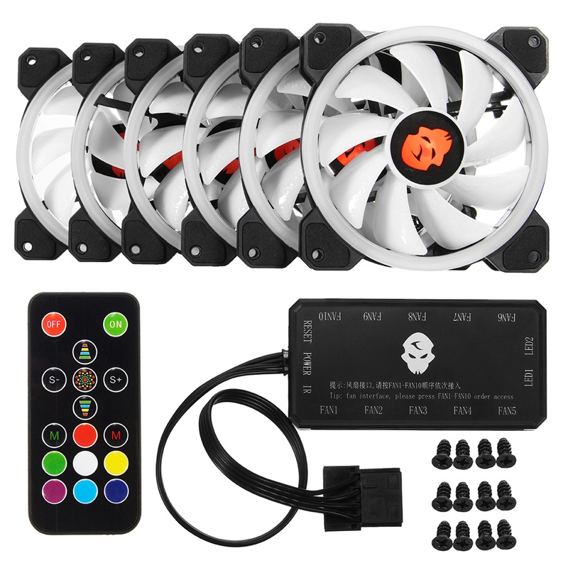 6pcs Computer Case PC Cooling Fan RGB Adjust LED 120mm Quiet + IR Remote New computer Cooler Cooling RGB Case Fan For CPU personal computer graphics cards fan cooler replacements fit for pc graphics cards cooling fan 12v 0 1a graphic fan