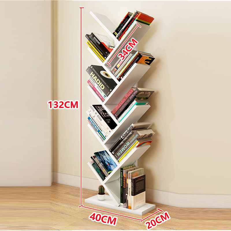 Tree Shape kids Bookshelf Bookcase Books CDs Display Storage Rack Shelf Free Combination Wood Bookcase 9 Tier Multicolor