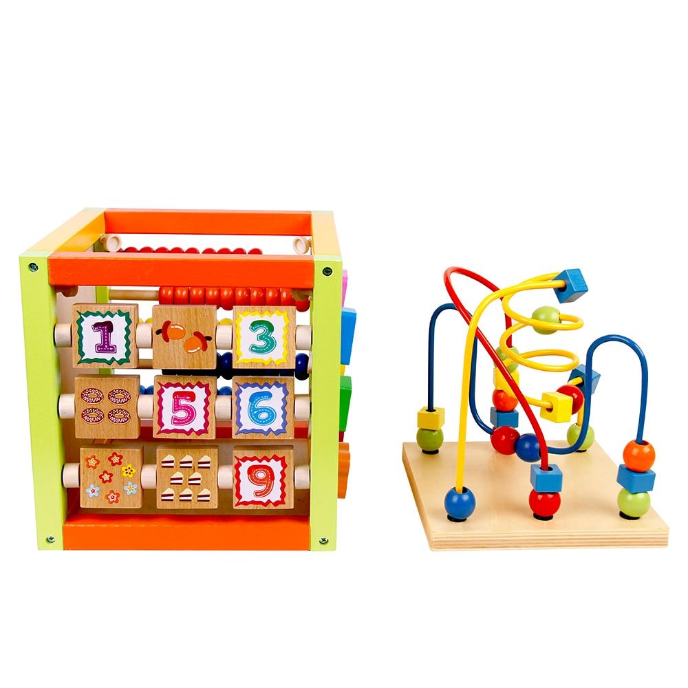 Enfants Multifonctionnel En Bois Puzzles Trésor Boîte Jouets Enfants de Bande Dessinée Coloré Ronde Perles Jouet Amusant Bébé Précoce Cadeau Éducatif