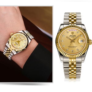 Image 5 - Holuns Men Watches 2019 Luxury Top Brand Gold Diamond Role Quartz Stainless Steel Calendar Relogio Masculino Wrist Watch Clock