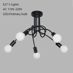 Image 2 - Modern black painted art deco pendant lights iron retro painted light E27 LED 220V lamp for bedroom kitchen restaurant parlor