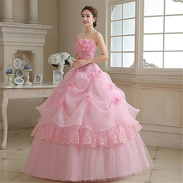 Real Photo vestido de noiva de 2017 New Koreal Style Flowers Strapless Pink Red Princess bridal Wedding Dress Lace Up Ball Gown 2
