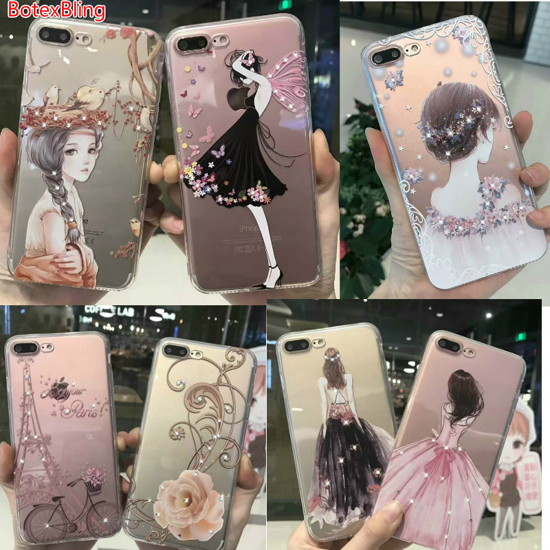 BotexBling Luxury diamond wedding girl back transparent case for iphone X 8 8Plus 7 7plus 6 6s plus 6plus cover rhinestone Tower
