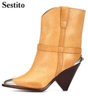 Лаконичное украшение металлическими элементами на шпильке женские ботинки острый носок на очень высоком ботильоны для женский, черный без