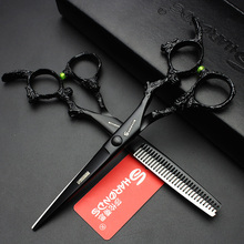 """6 """"ร้อนญี่ปุ่นผมกรรไกรตัดผมกรรไกรช่างทำผมมีดโกนกรรไกรตัดแต่งทรงผมระดับมืออาชีพผมตัดกรรไกรผอมบาง"""