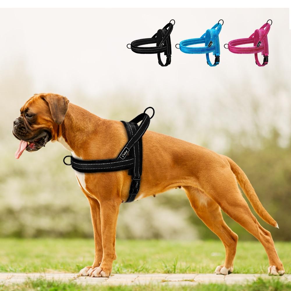 no pull dog harness nylon large dog harness reflective pet vest padded strap harnesses for small. Black Bedroom Furniture Sets. Home Design Ideas