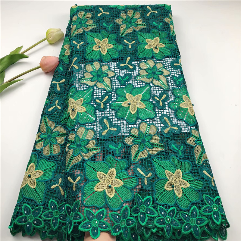 French Guipure Cord Lace Fabric High Quality Green Color African Lace Fabrics 2019 Latest Nigerian Lace Fabrics with Beads-in Lace from Home & Garden    1