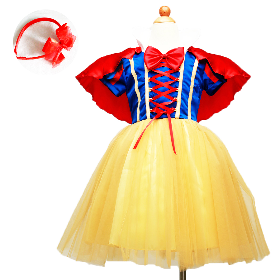 Fashion carnaval girls dress up costumes for kids two pieces tutu snowwhite dress set