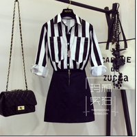 European Style New Early Autumn 2017 Female Long Sleeve Strip Shirt Blouse Black Denim Skirts Suit