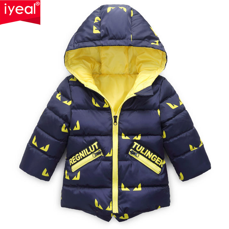IYEAL Baby Boys Jacket Winter Jacket For Boys Cartoon Hooded Cotton Feather Coat Kids Warm Outerwear Children Clothes 2-6Y цена