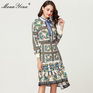 Image 2 - MoaaYina 2018 ensemble de créateurs de mode printemps femmes à manches longues Floral imprimé élégant Blouse + irrégulière sirène jupe deux pièces costume