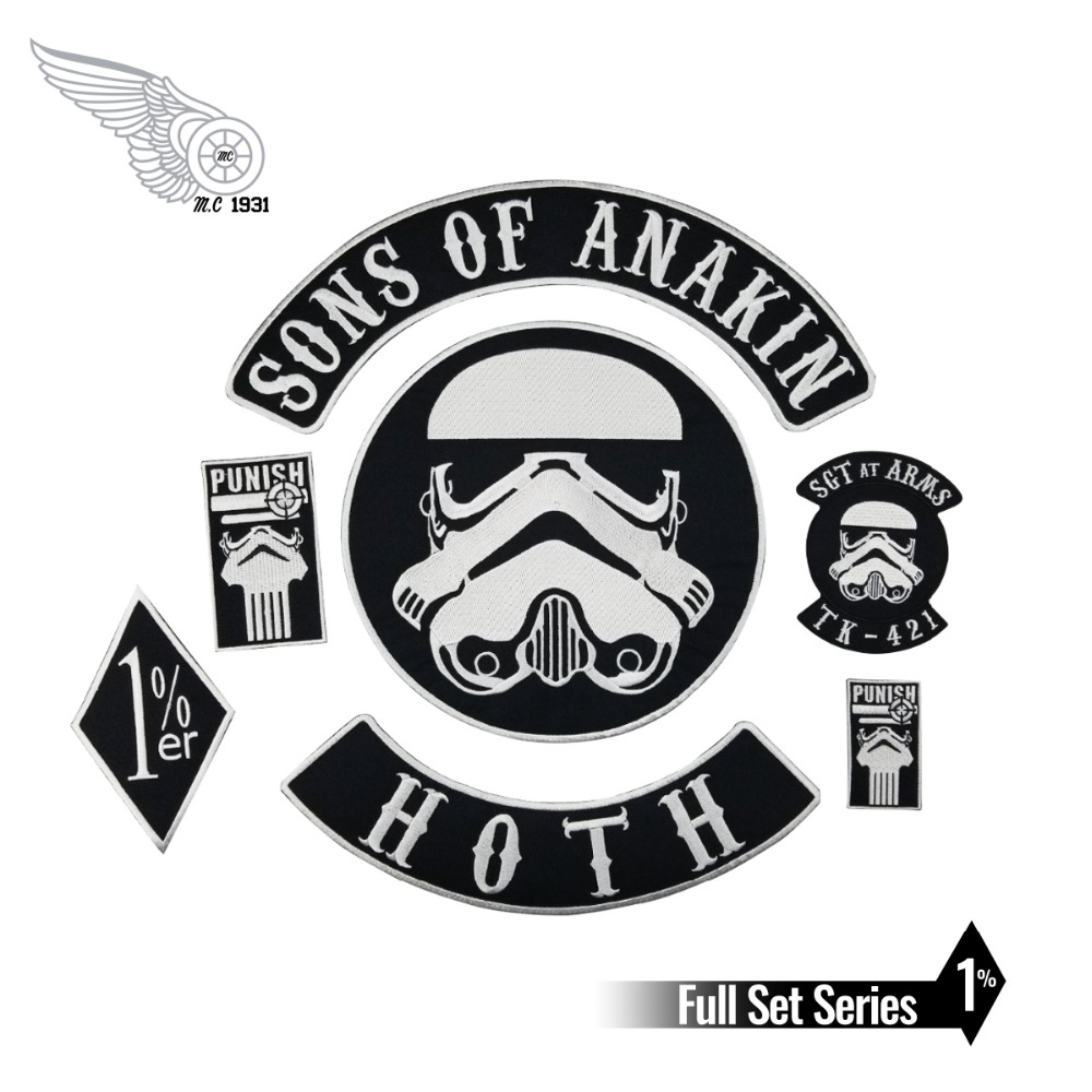 Sons of Anakin Stormtrooper Star Wars Iron on Embroidery patch Sewing on Motorcycle Jacket patches for