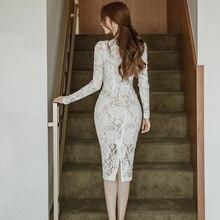 فستان قصير أنيق بأكمام طويلة من الدانتيل الراقي