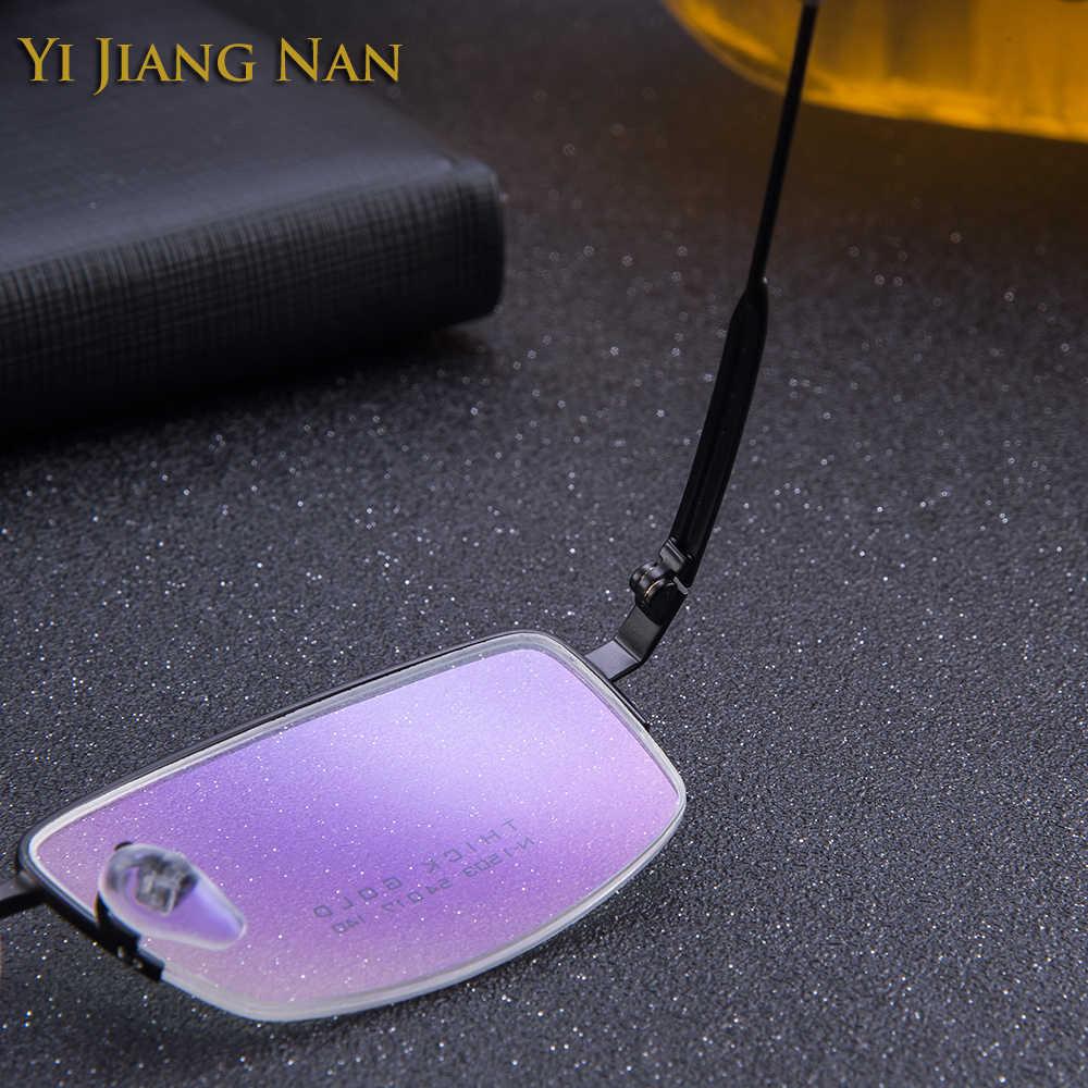 Yi Jiang Nan marca hombres calidad Marco de aleación de titanio prescripción de gafas montura de lentes transparentes montura de gafas ópticas