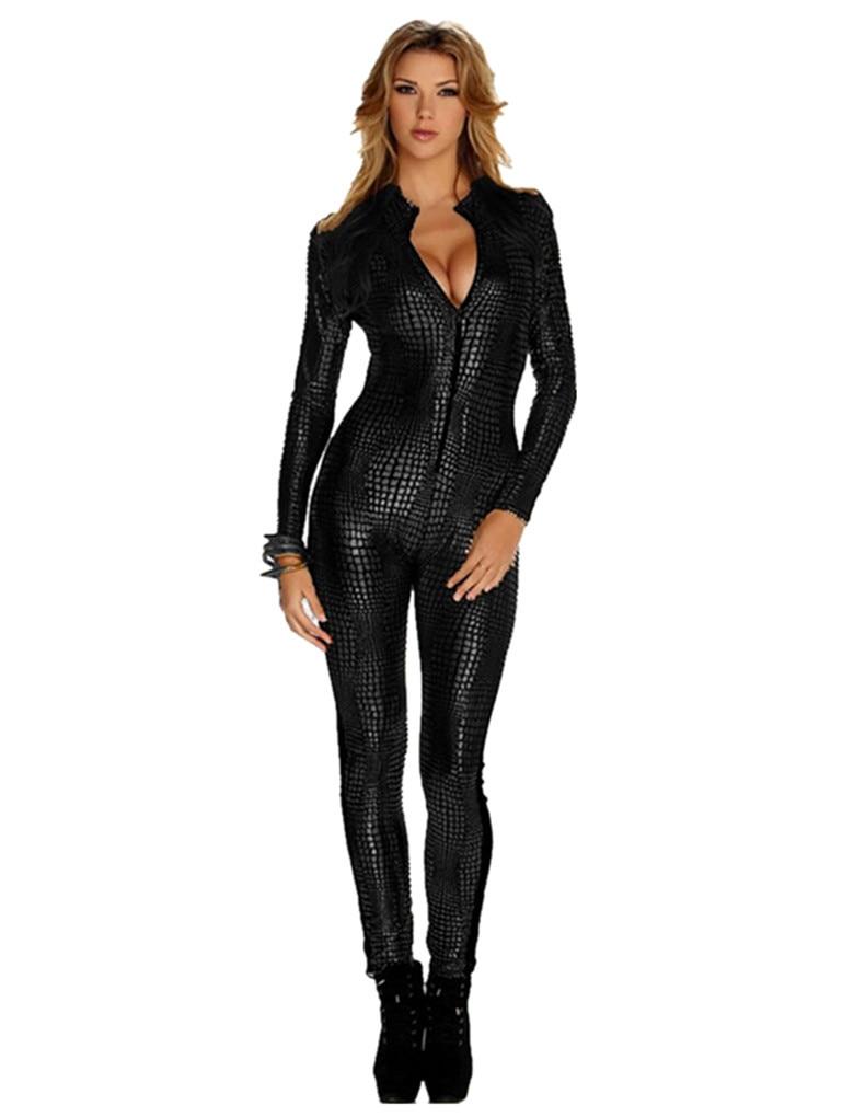 Sexy Vinyl Leather Women Jumpsuit 2015 Fashion Black Gold -2713