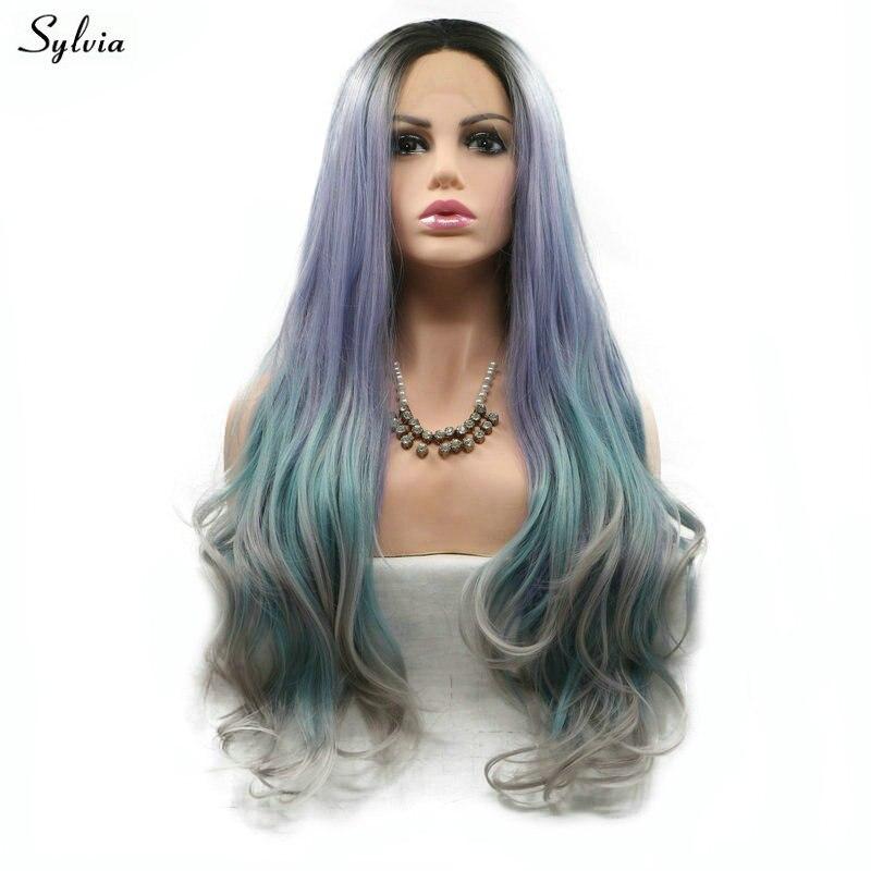 Sylvia Women Natural Wave Long Synthetic Hair High Temperature Fiber Short Dark Roots to Purple Blue