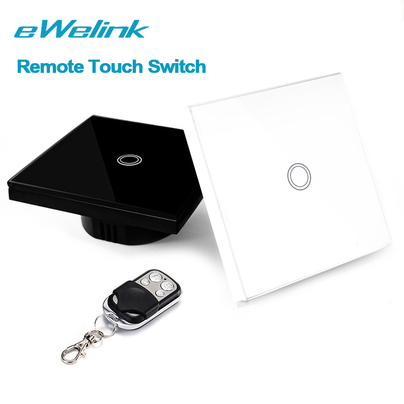 eWelink EU/UK 1 Gang 1 Way, Wireless Remote Control Light Switches, Crystal Glass Panel Touch Switch, RF433 Remote Wall Switch smart home us black 1 gang touch switch screen wireless remote control wall light touch switch control with crystal glass panel