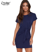 Fashion Summer Women Dresses Short Sleeve Straight Clothing Elia Cher Brand Chic Elegant Sexy Solid Color