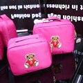 2017 de Corea Del Oso de Dibujos Animados bolsa de Maquillaje de Doble Capa Bolsa de Cosméticos Bolsa de viaje de gran capacidad Bolsas de Almacenamiento Organizador