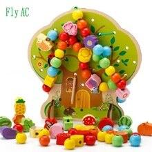 Монтессори Обучение Образование Деревянные игрушки мультфильм фруктовое дерево фруктовые бусины обучающая игрушка для детей подарок на день рождения