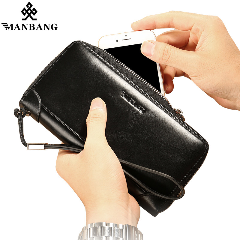 ManBang New Arrivals Genuine Leather men wallets Zipper Large Capacity Long Male Clutch Wallet Anti-theft Coin Bag Purse Phone feecanoo 2018 cowhide men clutch wallets genuine leather long purses business large capacity wallet zipper phone bag for male