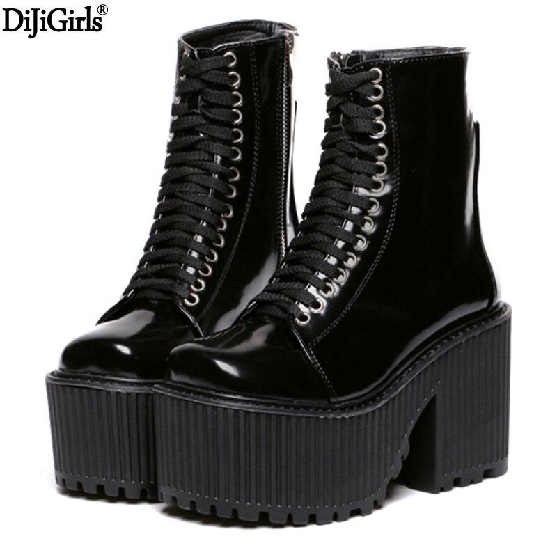 Botas Femininas 2017 Осень мотоботы Брендовые дизайнерские женские ботинки обувь на платформе в стиле панк-рок ботинки Martin черный/белые туфли