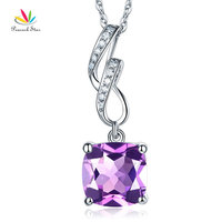 Peacock Star 14K White Gold 2.5 Ct Cushion Amethyst Pendant Necklace
