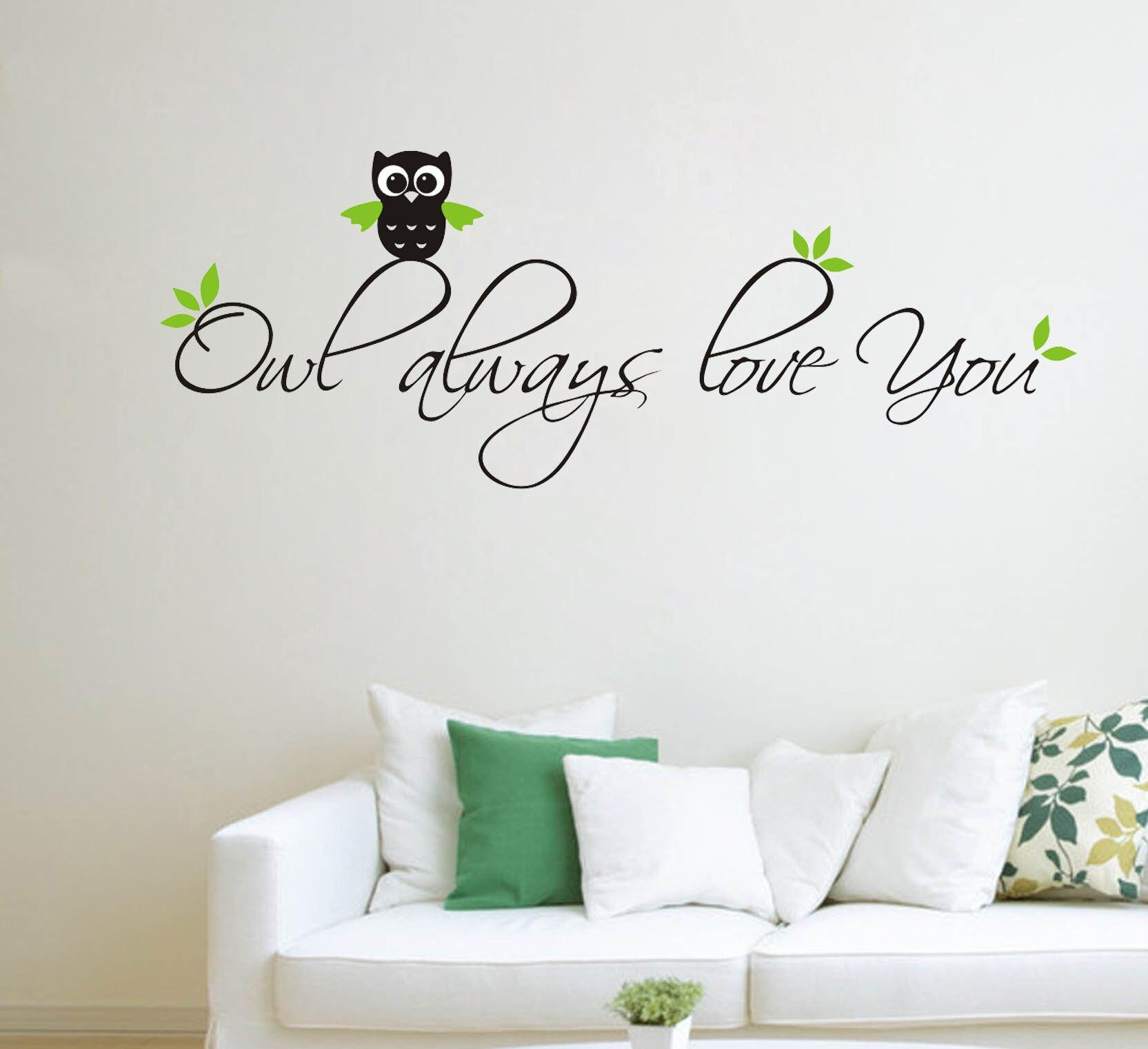 Sova vždy miluji obývací pokoj domácí nálepky na zeď vyřezávané malované obtisky PVC nálepka jednoduchý styl vinyl umění domácí výzdoba